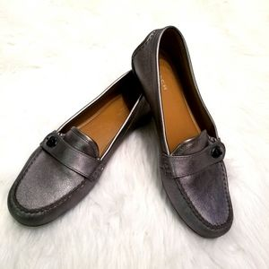"""Coach """"Flash"""" Silver leather flats/loafers-10"""